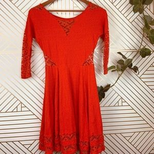 Free People Red Cut Out Skater Dress Size XS